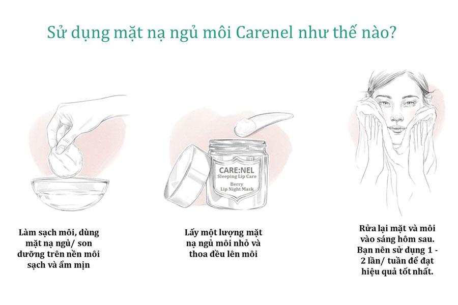 cách sử dụng mặt nạ ngủ môi Care:nel dâu