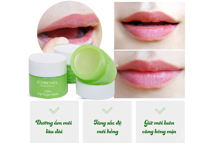Mặt nạ ngủ môi Care:nel dưỡng hồng môi và giữ làn môi căng mọng
