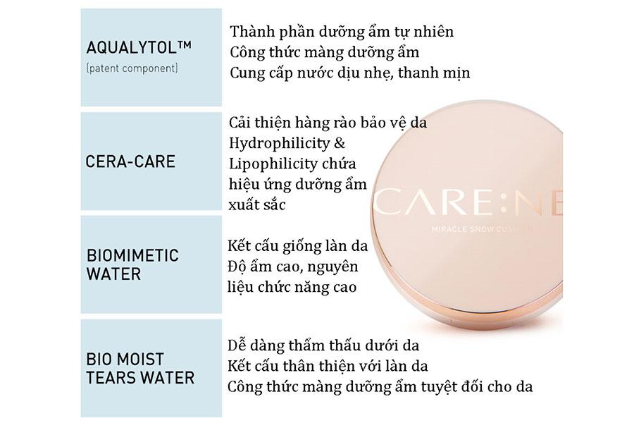 Những thành phần sáng trong phấn nước Care:nel