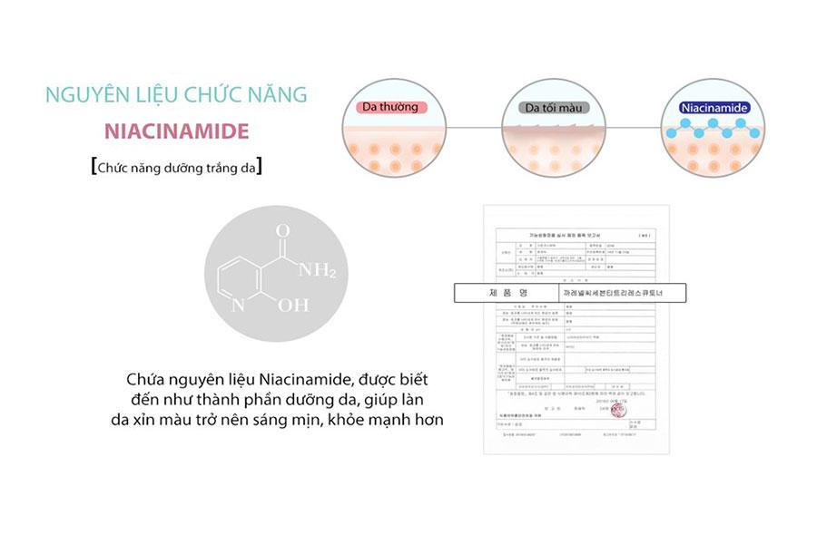 Niacinamide giúp da trắng sáng, loại bỏ các vết thâm mụn