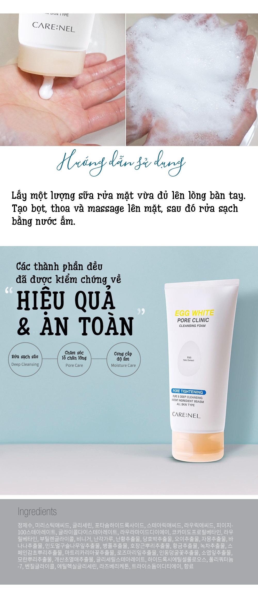 Sua Rua Mat Trung Carenel Pore Clinic Cleansing Foam (10)