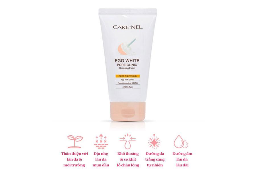 Sữa rửa mặt trứng gà Care:nel làm sạch dịu nhẹ và se khít lỗ chân lông